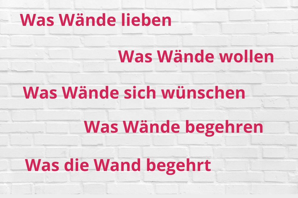 """MARKEN-Fundstück der Woche: """"Was Wände lieben"""" und mehr…."""