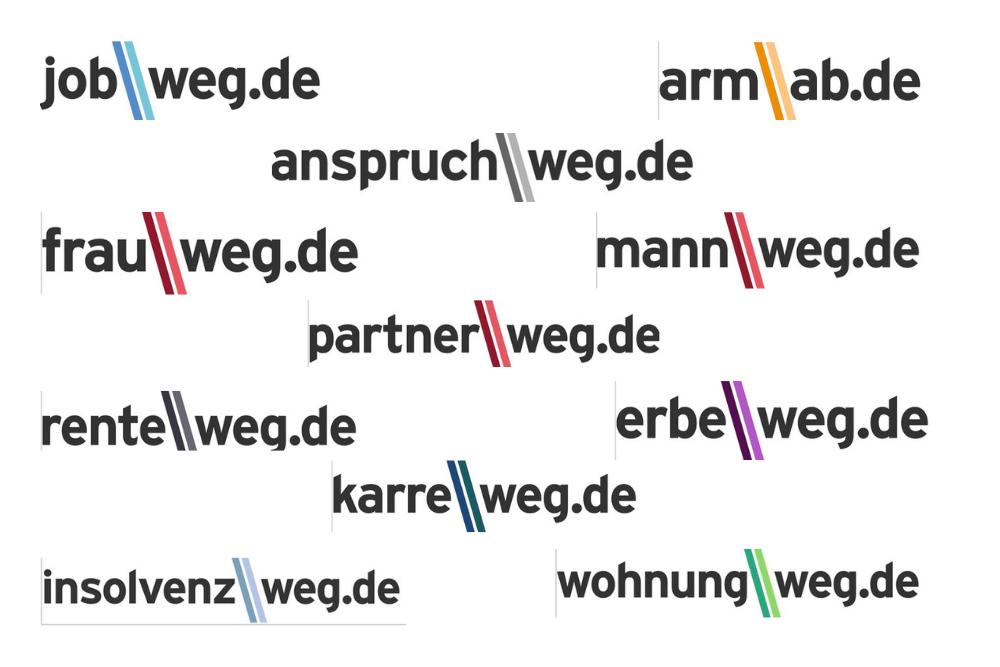 """MARKEN-Fundstück der Woche: """"arm / ab.de"""", """"""""karre / weg.de"""", """"rente / weg.de"""""""