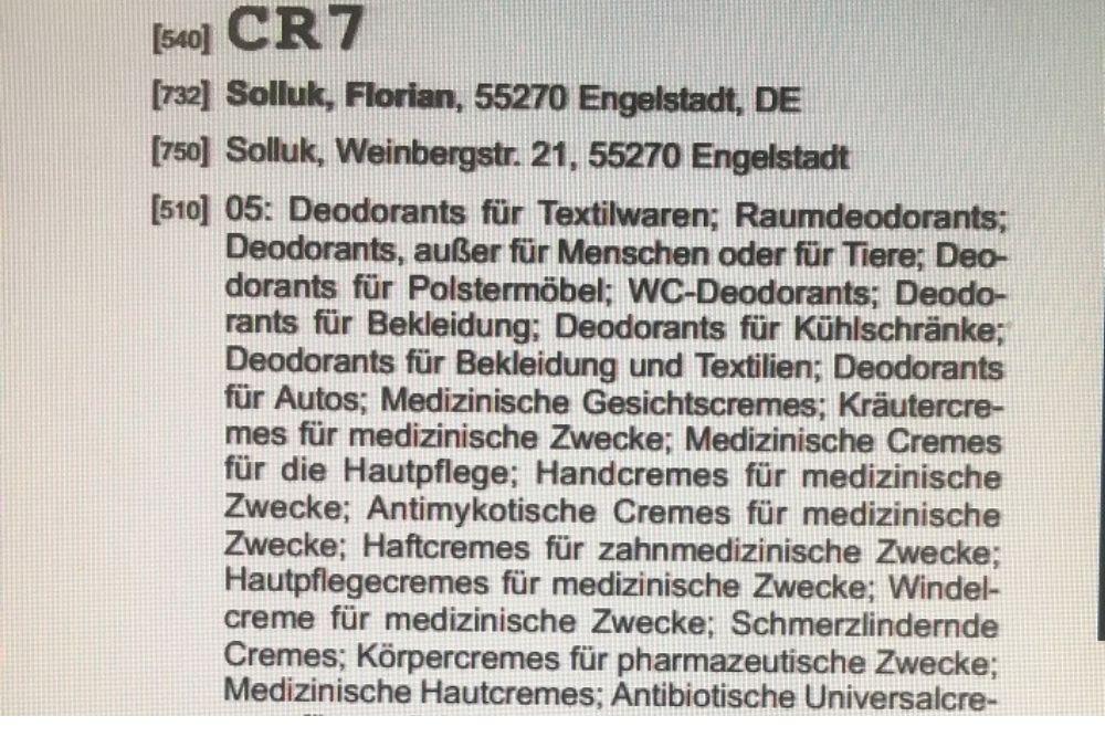 """MARKEN-Fundstück der Woche: """"CR7 für Deos & Babycremes? """""""