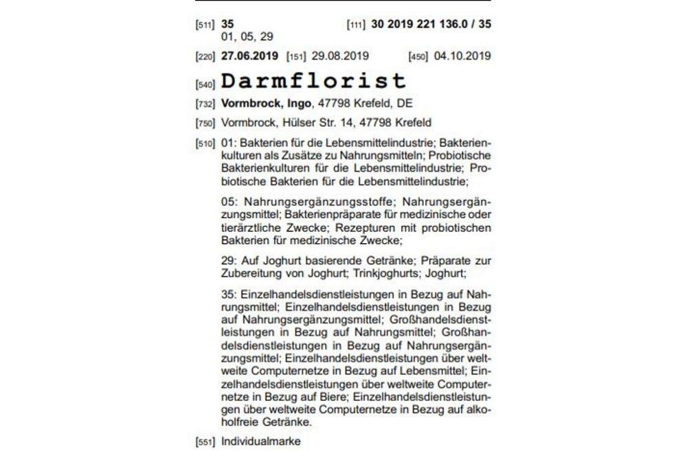"""MARKEN-Fundstück der Woche: """"Darmflorist"""""""
